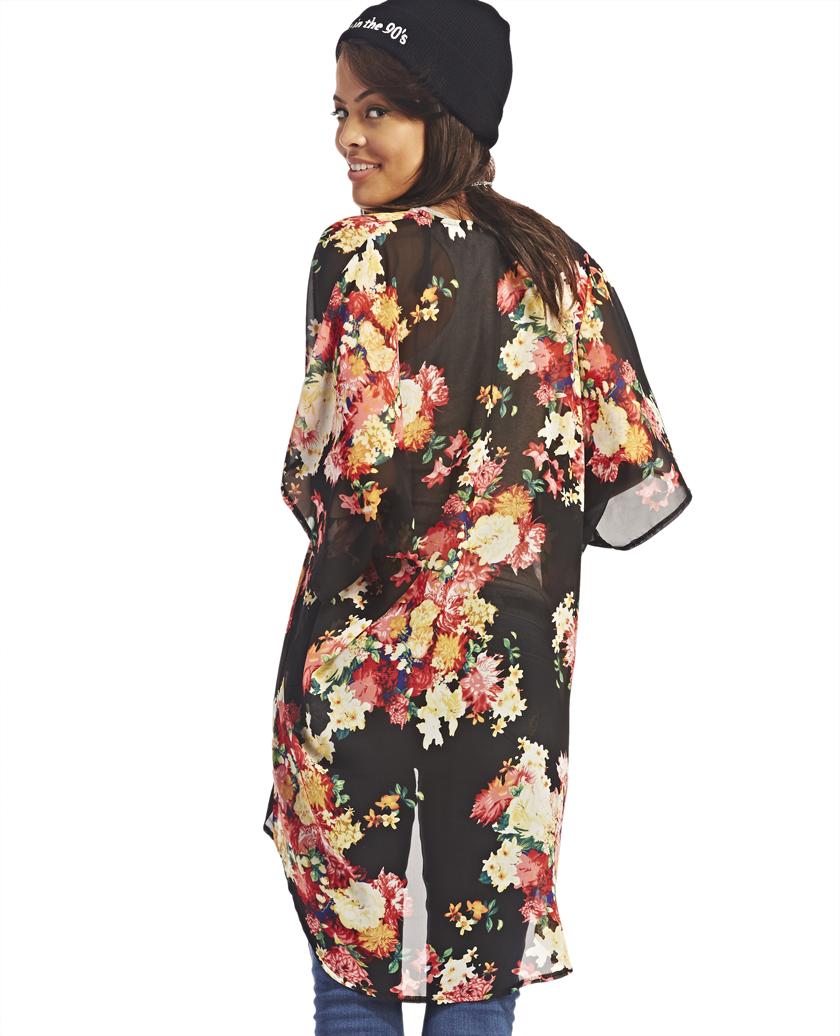 Floral Print Chiffon Kimono   Wet Seal