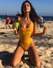 swimwear,mustard,one piece,cute,bikini,one piece swimsuit,summer bikini cover