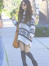 sweater,selena gomez,jumper,patterned sweater,pattern