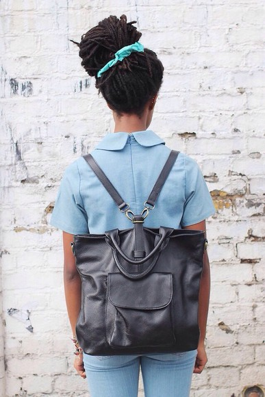 bag backpack black bags pocket black leather bag blue dress