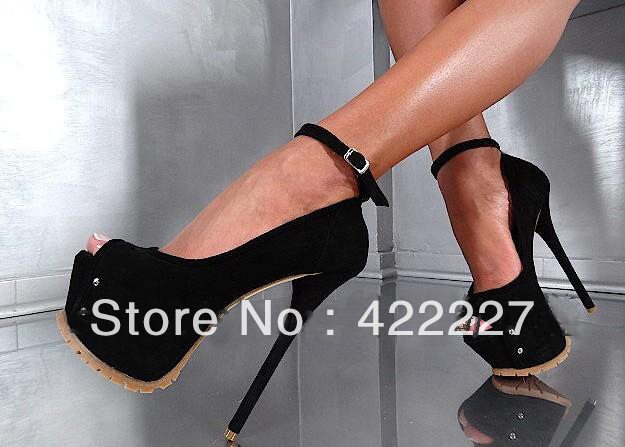 Hot selling sexy 160mm high platform sandals ankle strap black suede peep toe lady shoes summer women shoes