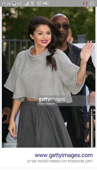 sweater selena gomez skirt grey sweater