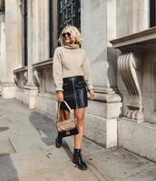sweater,turtleneck,turtleneck sweater,mini skirt,leather skirt,boots