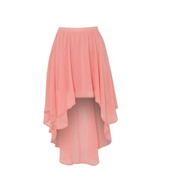 skirt pink coral salmon hi lo high low light pink
