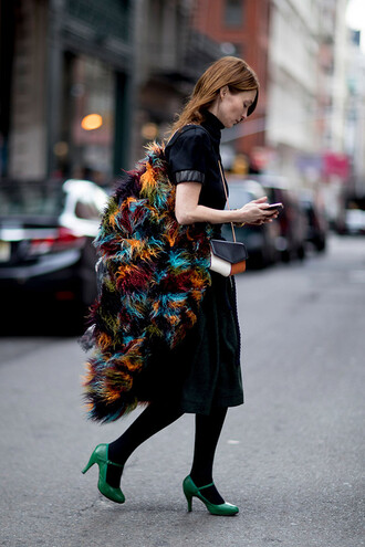dress nyfw 2017 fashion week 2017 fashion week streetstyle midi skirt black skirt velvet velvet dress tights opaque tights jacket printed jacket shoes high heels green shoes