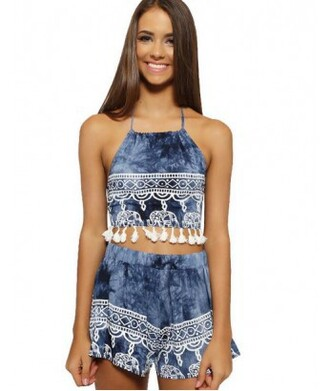 romper set two-piece shorts two piece dress set tank top crop tops blue