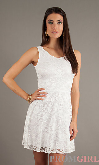 White Short Summer Dresses, Short Sleeveless Lace Dress- PromGirl
