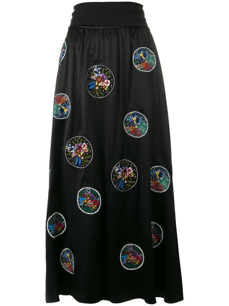 skirt flower skirt embroidered women black silk
