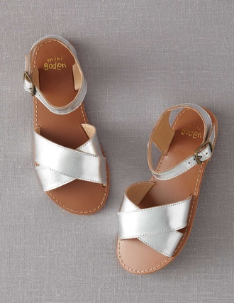 shoes silver metallic strap sandals silver flat sandals