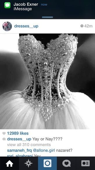 pearls white dress see through dress poofy dress heartshape