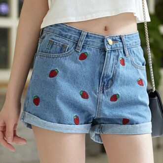 shorts yellow denim jeans strawberry blue summer teenagers spring boogzel