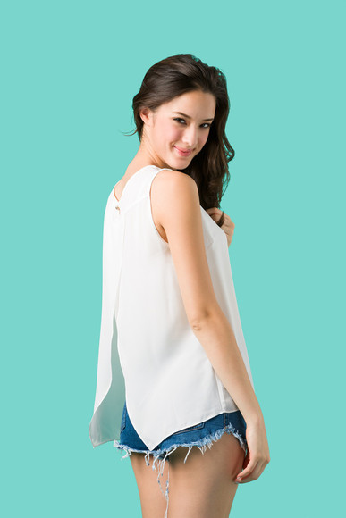 white slit blouse goodnight macaroon chiffon top summer top model