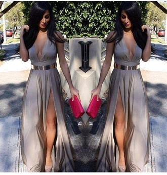 champagne maxi dress slit skirt maxi skirt gold nude high heels nude dress red lime sunday