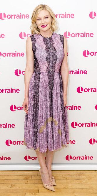 dress purple midi dress lace dress pumps kirsten dunst