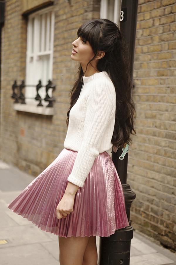 skirt pink silk