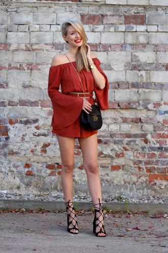 ohh couture blogger jumpsuit belt shoes bag jewels