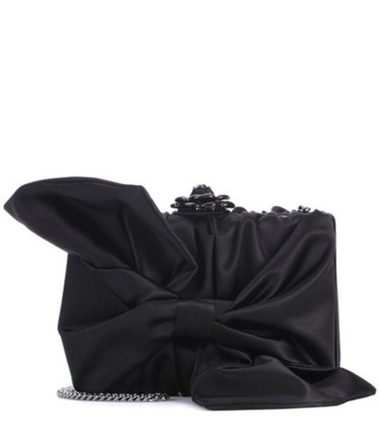 oscar de la renta bow clutch black bag
