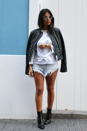 style by nelli blogger distressed denim shorts studded jacket black leather jacket tie-front top mid heel boots