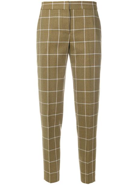women classic fit wool green pants