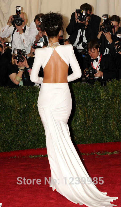rihanna white dress 2014 met gala evening dress red carpet