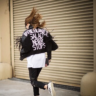 jacket customised leather jackets customized black leather jacket leather jacket black jacket pants black pants black leather pants leather pants t-shirt white t-shirt sneakers white sneakers adidas adidas shoes adidas superstars chiara ferragni the blonde salad top blogger lifestyle blogger streetstyle