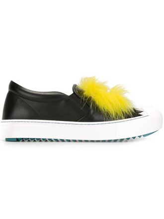 fur fox women sneakers leather black shoes