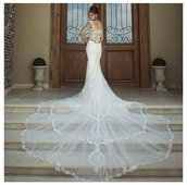 dress,lace,lace dress,trail,long,white,bride,bridal,bridal gown,floral,lace back