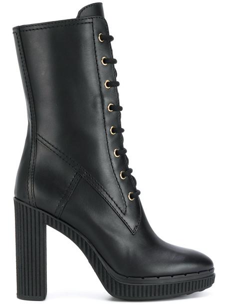 TOD'S women midi lace leather black shoes