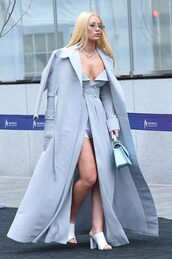coat,iggy azalea,baby blue,dress,streetstyle