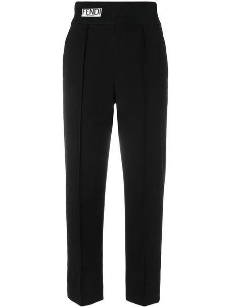 Fendi cropped high women spandex cotton black pants