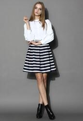 skirt,chicwish,navy stripes skirt,pleated tulip skirt,fashion and chic