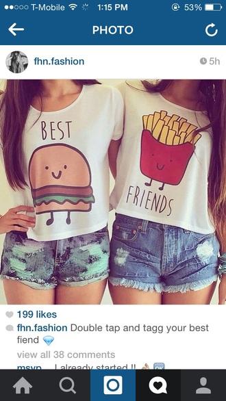 shirt burger and fries best friends shirt rt