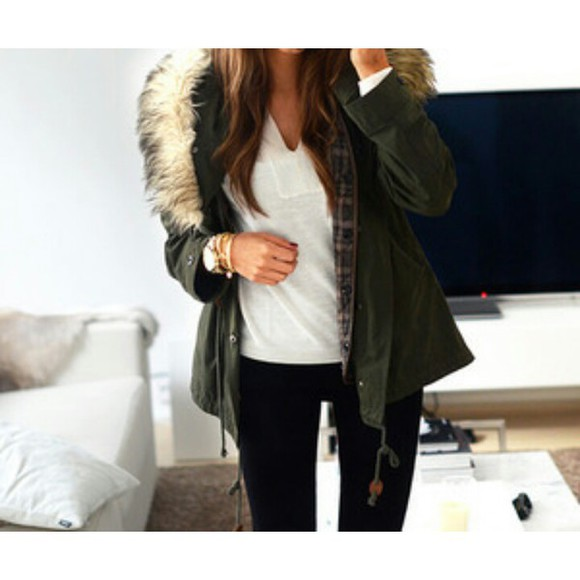 jacket green jacket parka winter outfits