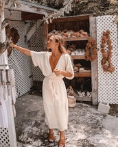 dress,white,midi dress,white dress,long sleeve dress,long sleeves,v neck,v neck dress,plunge v neck,summer,summer dress,summer outfits,spring,spring outfits,casual