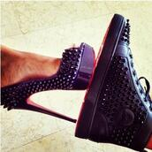 shoes,black,red bottoms,high heels,cute,louboutin,matching couples,studded shoes,red,studs,shoes#scarpe#wow#spettacolo❤️,spikes,spiked heels,spiked shoes,heels,trainers,red soles,sneakers,dope wishlist,black shoes,platform pumps,christian louboutin sneakers