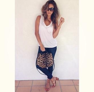 sunglasses shay mitchell jeans lepoard print heels