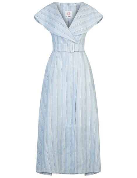 be378a01 Gul Hurgel Light Blue Striped Linen Sailor Dress - Wheretoget
