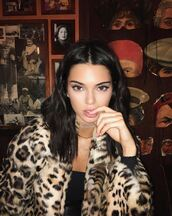 coat,fur,fur coat,kendall jenner,animal print,leopard print,instagram,model off-duty,choker necklace,jewels,jewelry,necklace,gold choker,layered,model,celebrity style,celebstyle for less