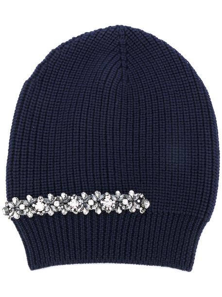 embellished beanie blue hat