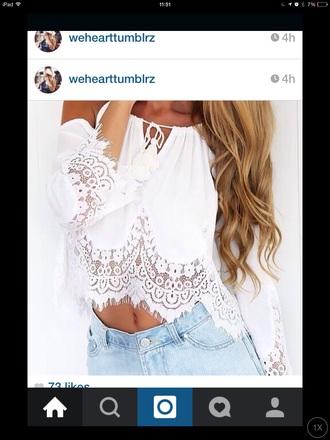 blouse lace top boho shirt boho chic white lace top peasant top