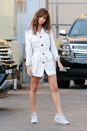 shoes,emily ratajkowski,celebrity,model off-duty,white,jacket,blazer