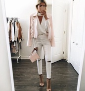 jacket,jeans,top,pink,white,shoes,heels,pink jacket,white jeans,white blouse,bag,nude,nude heels,white top,white shirt,cute,biker jacket,iphone cover,cut-out,high neck,white ripped jeans,pink bag,shirt