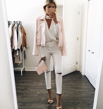 jacket jeans top pink white shoes heels pink jacket white jeans white blouse bag nude nude heels white top white shirt cute biker jacket iphone cover cut-out high neck white ripped jeans pink bag shirt