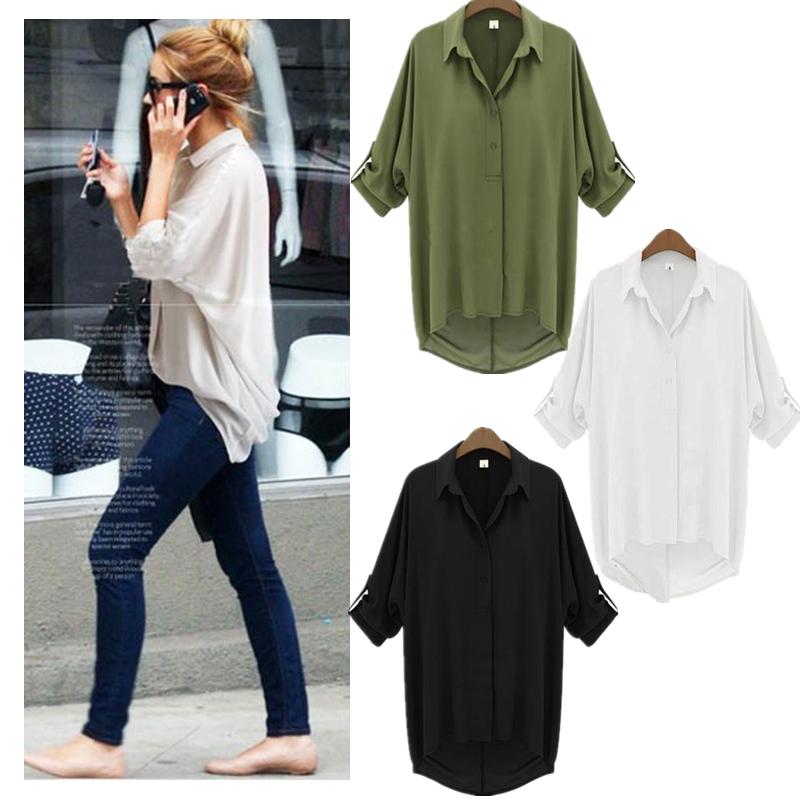 New Fashion Women Chiffon Shirt Turn-down Collar Long Sleeve Loose Top Blouse