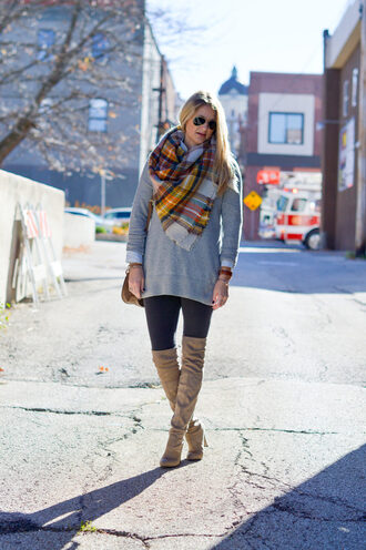 styleinasmalltown blogger sweater scarf shoes leggings bag jewels sunglasses fall outfits thigh high boots tartan scarf