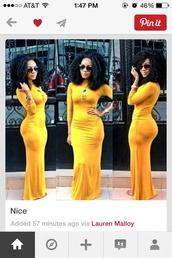 dress,mustard yellow dress,maxi dress,long sleeve dress,pretty,summer dress,winter dress