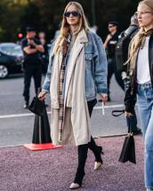 jacket,denim jacket,oversized jacket,coat,sock boots,handbag,sunglasses