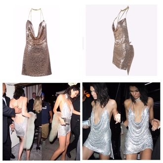 dress sequins mini short dress short choker necklace shiny mini dress birthday dress backless kendall jenner
