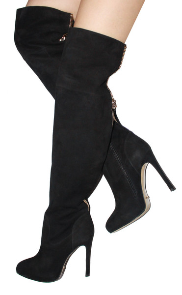 4 inch heels black suede the knee high heel boots
