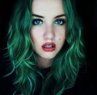 make-up velvet lipstick matte lipstick peach lipstick green hair grunge pink lipstick red lipstick